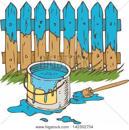 Blue Wooden Fence with Paintbrush Tin Can of Paint and Green Grass. Painting Process Isolated on a White