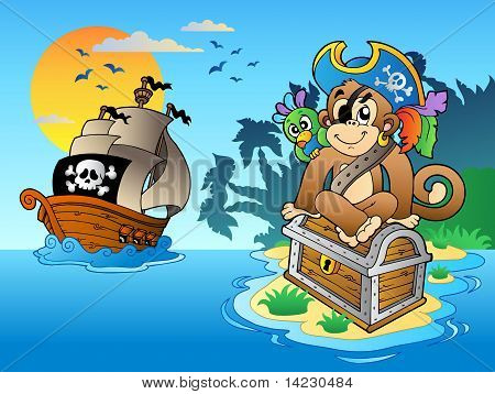 Pirate monkey and chest on island - vector illustration. poster
