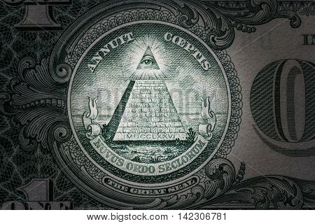 all-seeing eye on the one dollar. New world order. elite characters. 1 dollar.
