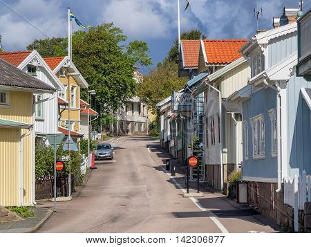 Historic old wooden house or villa in Lysekil Sweden