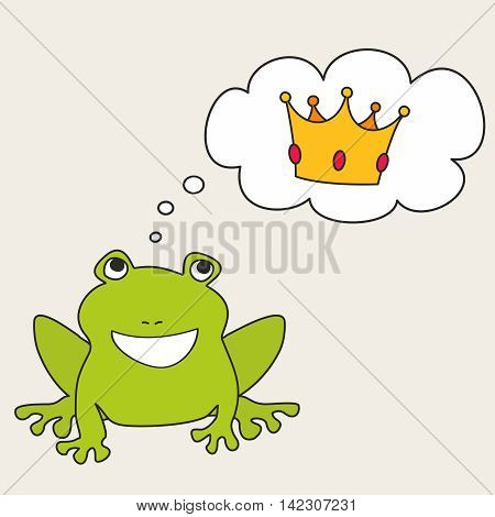Prince or princess frog dreaming about crown vector illustration