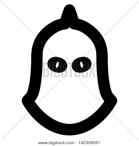 Executioner Helmet vector icon. Style is contour flat icon symbol, black color, white background.