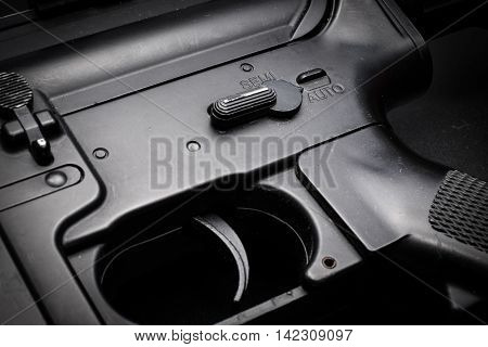 close-up auto mode of M4A1 assult rifle on black background