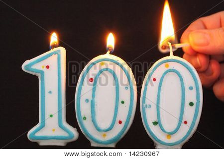 Birthday Candle 100 Being Lit