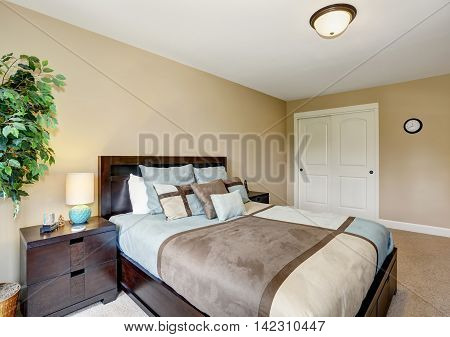 King Size Bed With Blue And Brown Bedding.