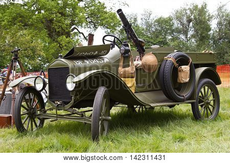 DENMEAD, UK - MAY 24: A vintage Model-T Ford motorcar modified for use by the British army in WW1 stands on static display for the public to view at the Overlord show on May 24, 2015 in Denmead.