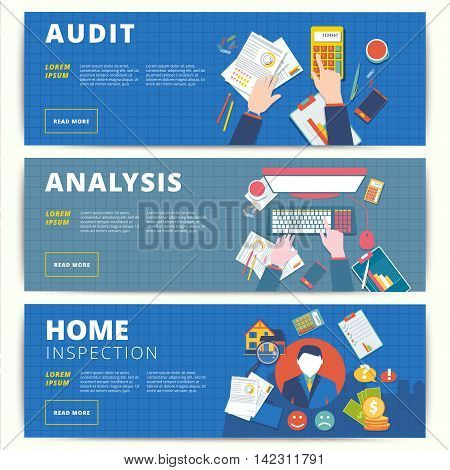 Set of vector web banners design for business or finance services. Financial analysis audit or accounting and home inspection and appraisal affairs.