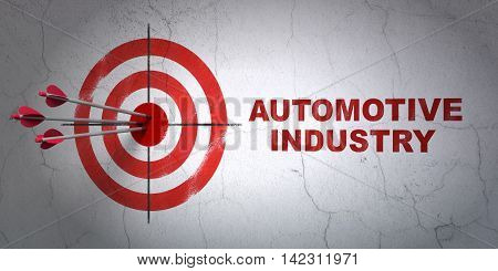 Success Industry concept: arrows hitting the center of target, Red Automotive Industry on wall background, 3D rendering