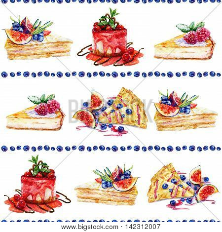 Seamless pattern with watercolor pastries and sweets. Colorful illustration of pancake macaroon cake cinnamon cloves anise blueberry figs cheesecake.