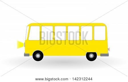 Cartoon cheerful minibus Isolated on White Background. Vector Illustration. EPS10