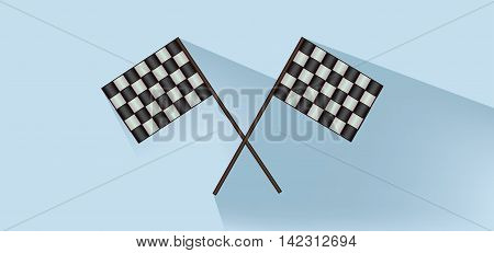 Rally flags over white blue background flat style. Digital image vector