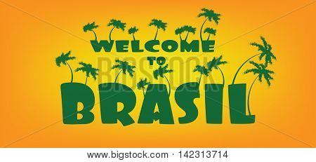 Welcome to brasil card with palm trees over orange background in outlines. Digital vector image