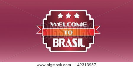 Welcome to brasil card with stars over burgundy background in outlines. Digital vector image