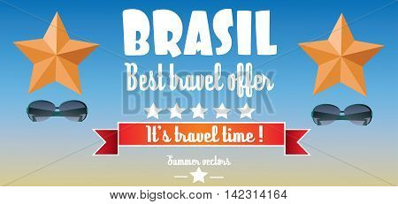 Brasil best travel offer card with stars and sunglasses over blue background in outlines. Digital vector image