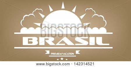 Brasil premium vacation card with sun and clouds over brown background in outlines. Digital vector image