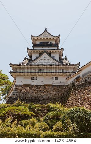 KOCHI JAPAN - JULY 19 2016: Main keep (tenshukaku) of Kochi castle (circa 18th c.) Shikoku Island Japan. Kochi is one of only 12 survived castles in Japan