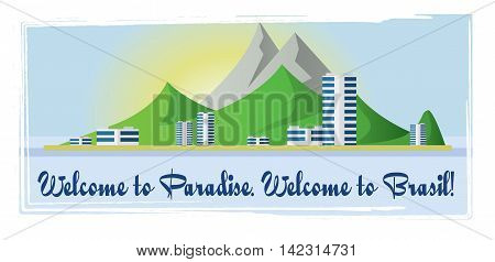 Welcome to Brasil paradise card with mountains and city view over white background in outlines. Digital vector image