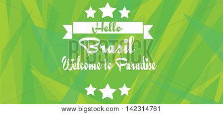Hello Brasil paradise card with stars over green background with triangles in outlines. Digital vector image