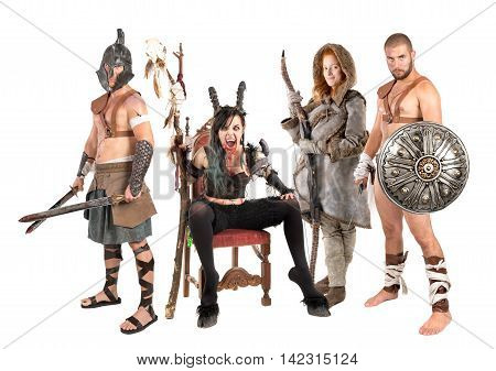 Fantasy group with sorceress male warriors and female hunter
