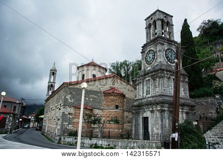View of the church in Langadia Greece.