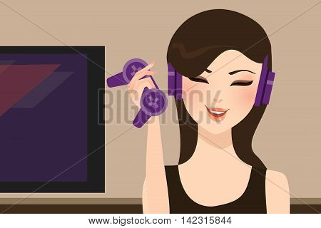girl gamer holding joy stick wearing head set vector