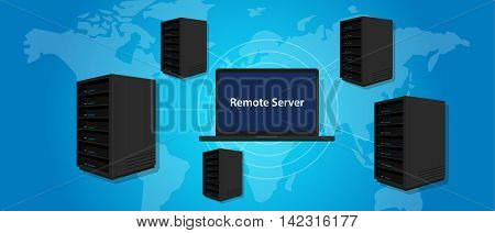 remote server connecting manage computer online world wide anywhere vector