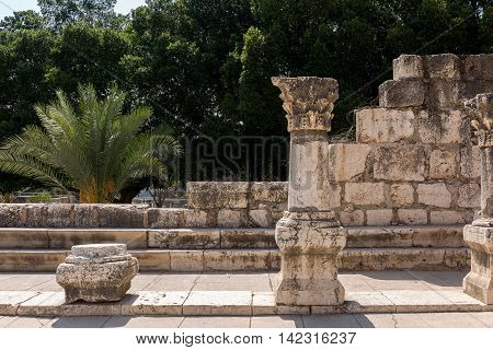 Inside of ancient synagogue in Capernaum - Israel