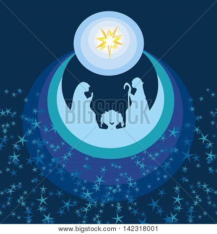 abstract Christmas card - birth of Jesus in Bethlehem , vector illustration