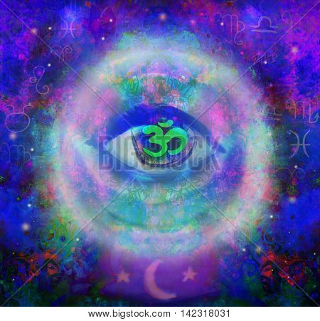 illustration of a third eye mystical sign in glass sphere , raster