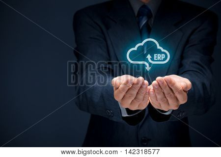 Enterprise resource planning (ERP) as cloud service concept. Businessman offer ERP business management software as cloud computing service.