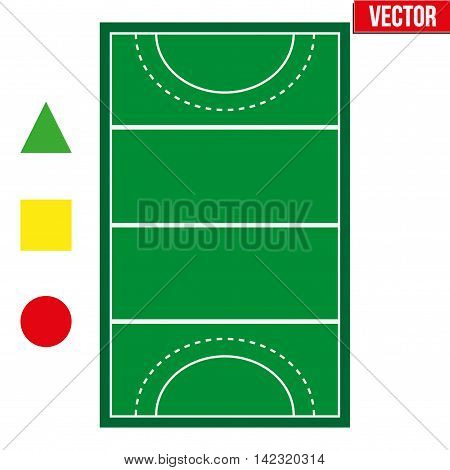 Sample sport hockey fields and penalty cards in a simple outline. Flat design. Editable Vector illustration Isolated on white background.