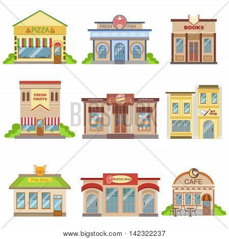 Commercial Buildings Exterior Design Set Of Of Colorful Detailed Stickers In Cartoon Manner Flat Vector Illustrations Isolated on White Background
