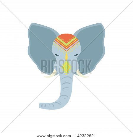 Sacred Indian Elephant Head Country Cultural Symbol Illustration. Simplified Cartoon Style Drawing Isolated On White Background