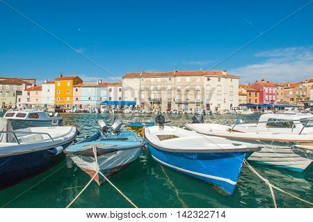 Fishing boats in marine in town of Cres, waterfront, Island of Cres, Kvarner, Croatia