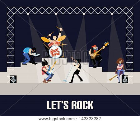 Rock band music group on stage concert on with musicians concept of artistic people vector illustration