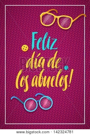 Happy Grandparents Day Greeting Card. Spanish Calligraphy Poster on Pink Knitted Background with Glasses and Buttons.