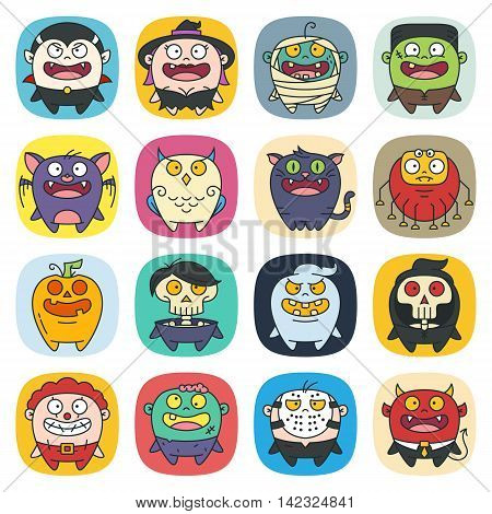 A set of 16 modern flat line style cute characters for Halloween: vampire witch monster zombie mummy bat cat clown death devil ghost mask owl pumpkin skull spider.