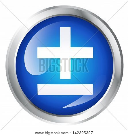 Glossy icon or button with mathematical symbol. 3D illustration