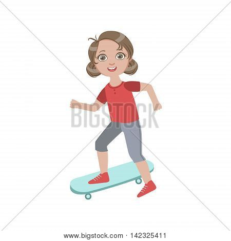 Boyish Girl Sketeboarding Simple Design Illustration In Cute Fun Cartoon Style Isolated On White Background