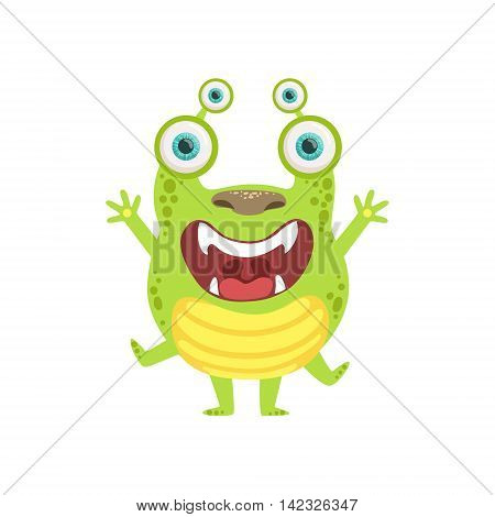 Green Screaming Friendly Monster Cute Childish Sticker. Flat Cartoon Colorful Alien Character With Party Attributes Isolated On White Background.
