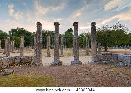 Palaestra in the archaeological site of Ancient Olympia.