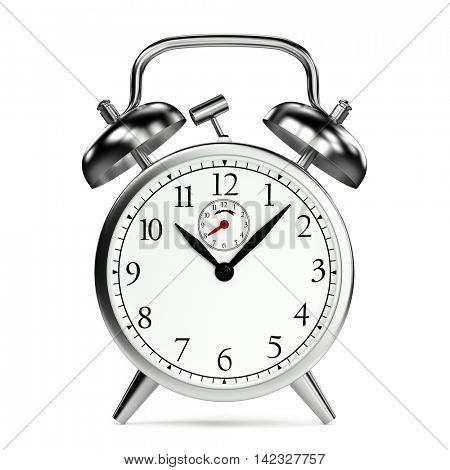 Frontal of a vintage retro alarm clock made of metal (3D Rendering)