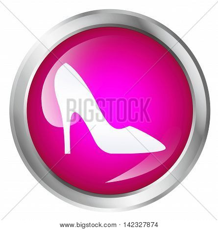 Glossy icon or button with pump shoe symbol. 3D illustration