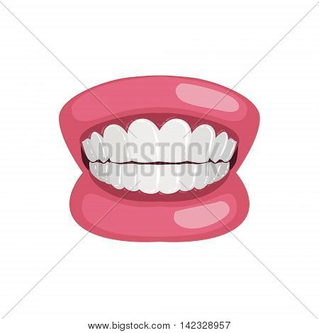 Demonstration Jaw And Teeth Prop Simple Design Illustration In Cute Fun Cartoon Style Isolated On White Background