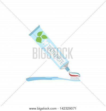 Toothpaste Sqeezed Onto Toothbrush Simple Design Illustration In Cute Fun Cartoon Style Isolated On White Background