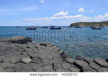 Vietnamese Natural Heritage Ganh Da Dia Sea With Fishing Boats