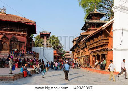 KATHMANDU, NEPAL - CIRCA APRIL 2013: Kathmandu Durbar Square is a UNESCO World Heritage Site. Several buildings collapsed during the 2015 Nepal earthquake.