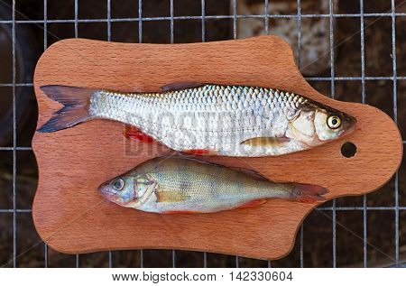 chub and perch on a cutting board