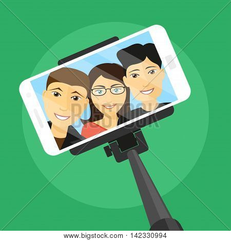 picture of mobile phone with three friends on screen and selfie stick flat style illustration