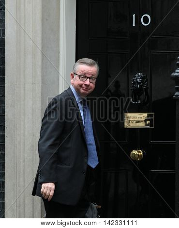LONDON, UK, JUN 14, 2016: Michael Gove MP arriving in Downing Street for the weekly cabinet meeting